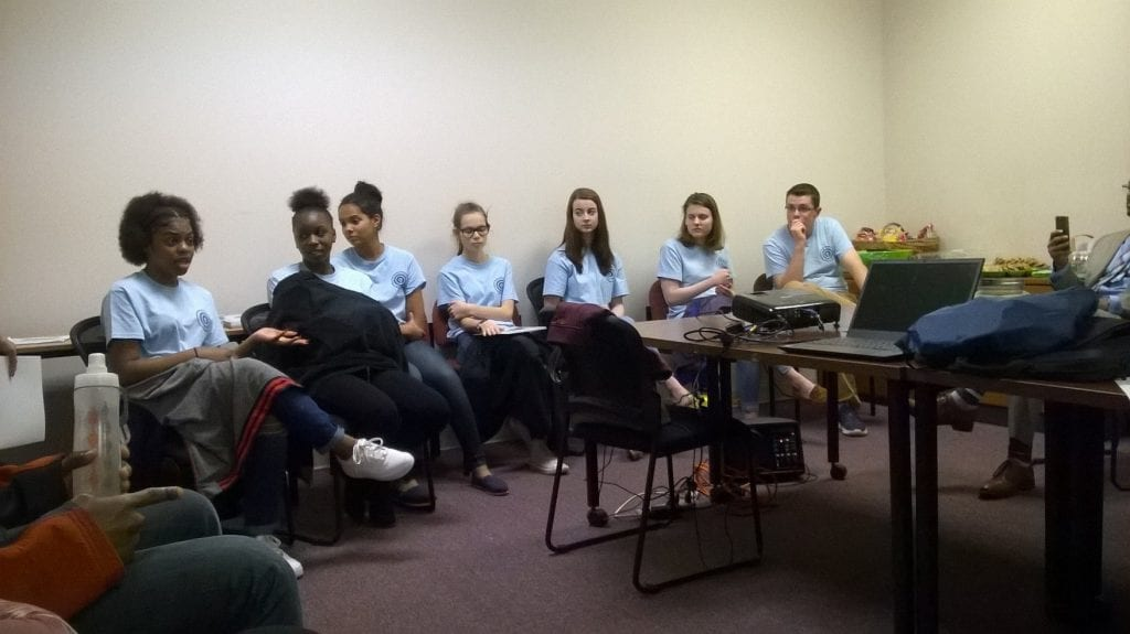 Photo: group of DAs Advisory board students at social media safety workshop