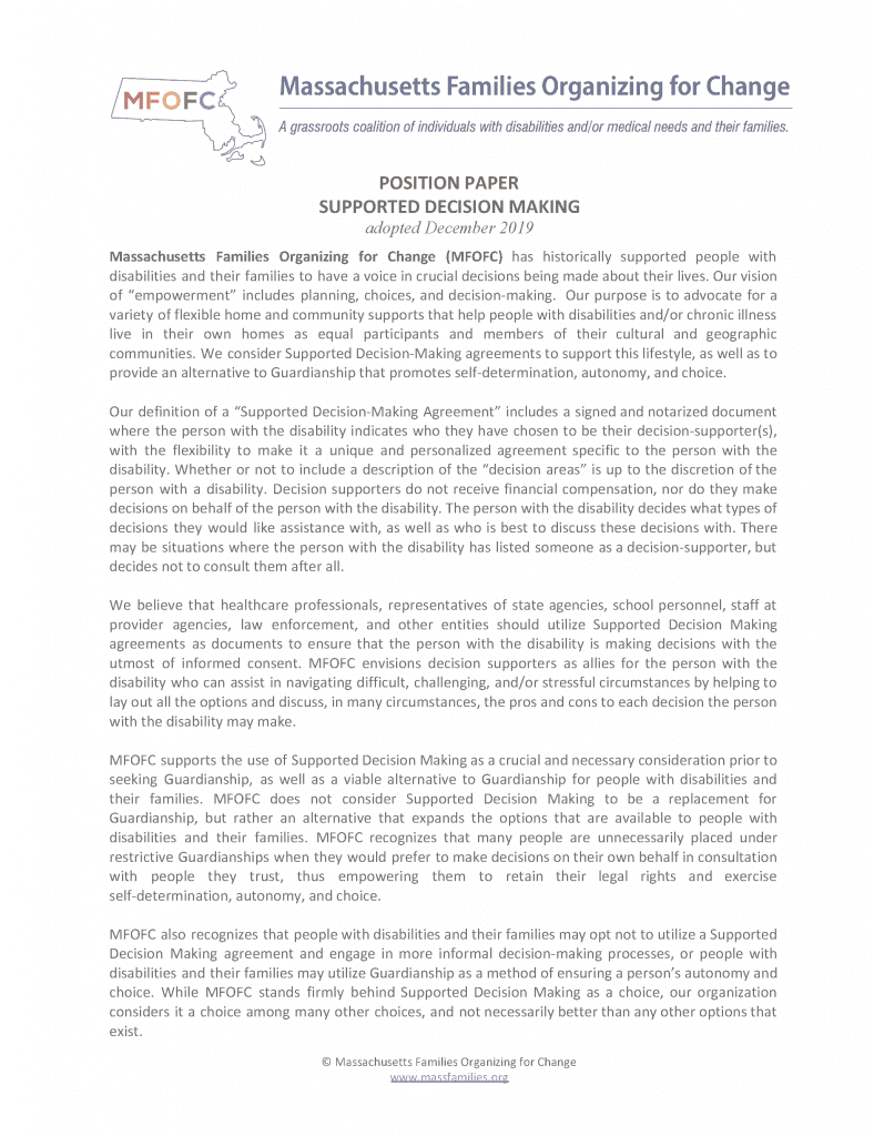 POSITION PAPER on SUPPORTED DECISION MAKING adopted December 2019