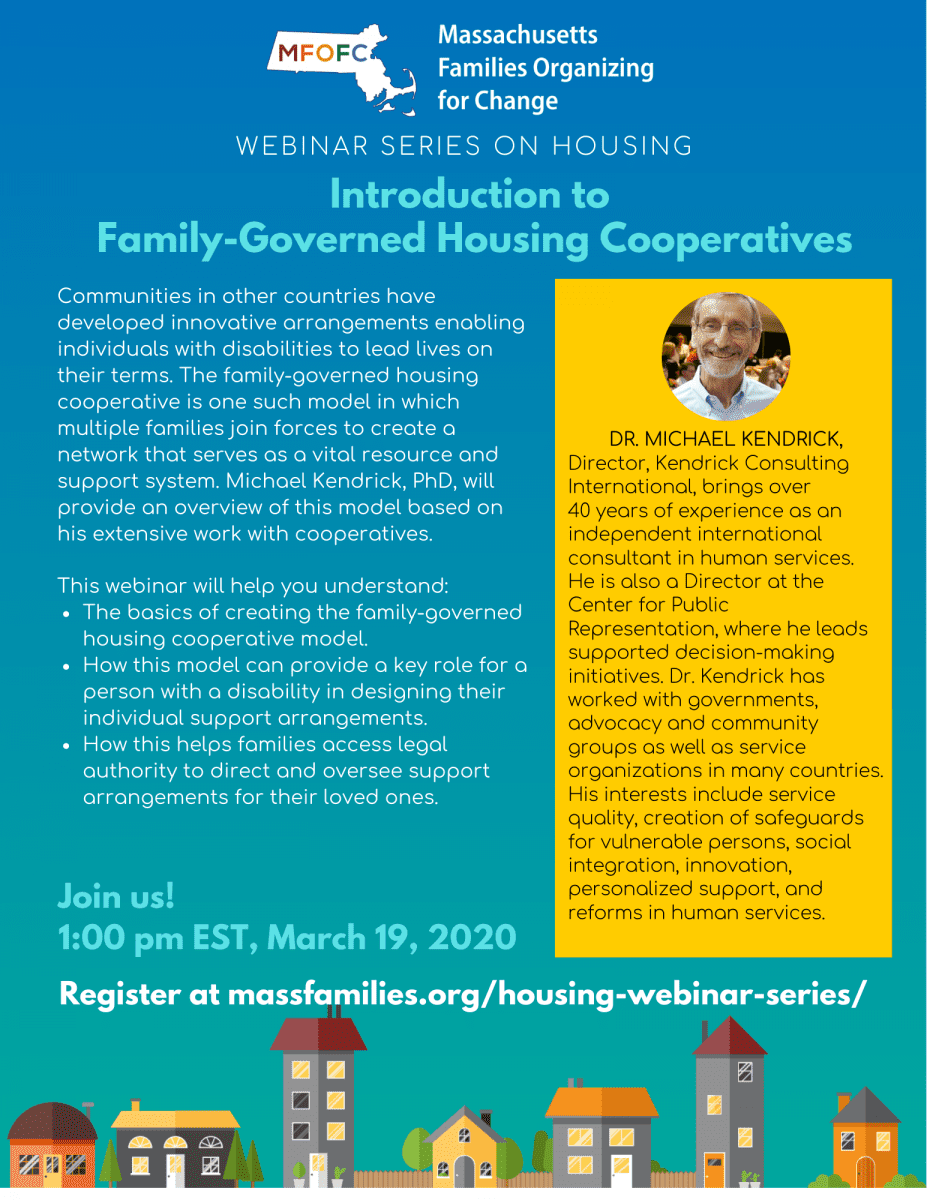Flyer for MARCH 19 2020 MFOFC HOUSING WEBINAR SERIES Introduction to Family-Governed Housing Cooperatives