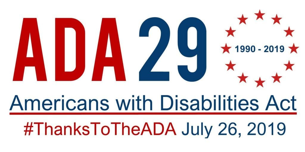 Banner: ADA 29 1990-2019 Thanks Americans with Disabilities Act