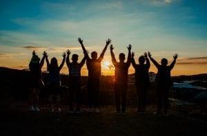 photo: group facing sunrise
