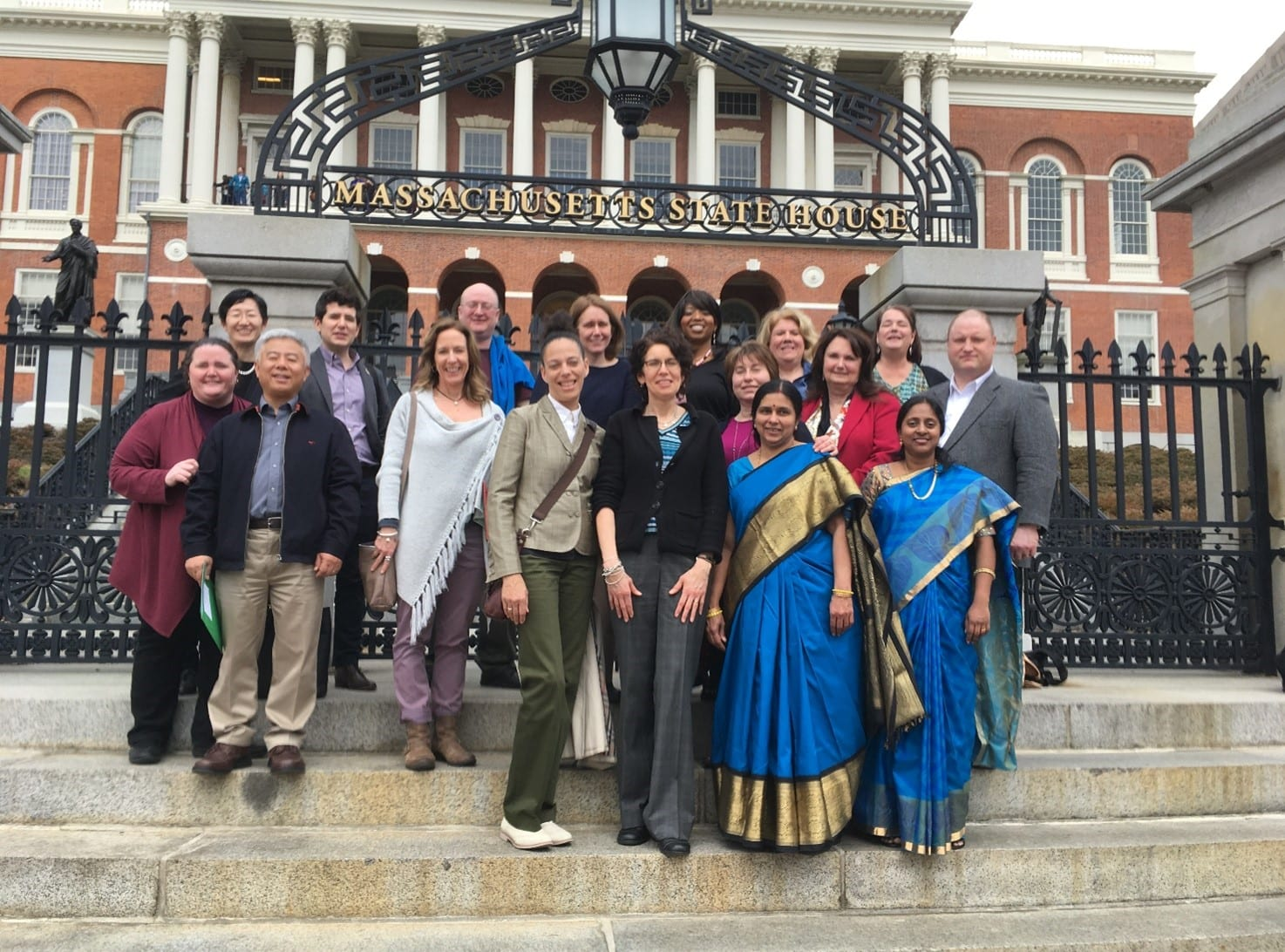 Photo: family leadership graduates in front of Massachusetts State House