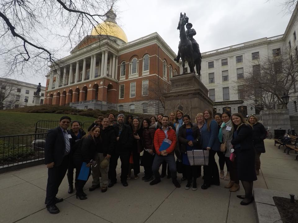 Photo: MFOFC Family Leaders in front of Massachusetts Capitol Building