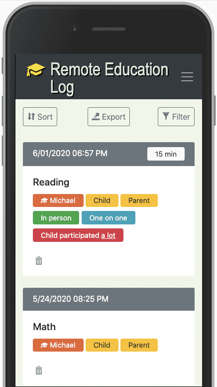 Remote Education Log Screenshot